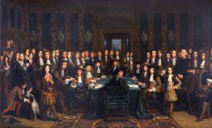 'De ondertekening van de Vrede tussen Frankrijk en Spanje', door Henri Gascard (17-09-1678)
